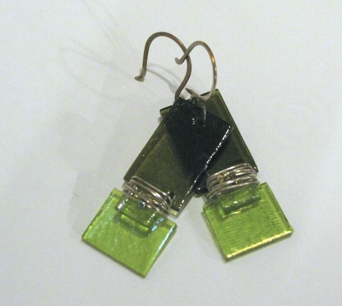 Olive & Chartreuse Wrap Fused Glass Earrings - Made by Me! :)