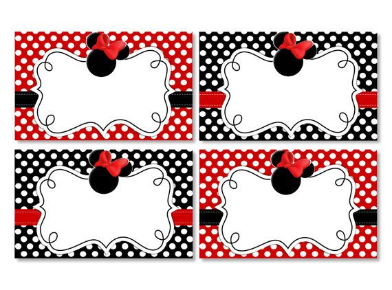 INSTANT DOWNLOAD Blank Red Minnie Mouse Food Tents - Red Minnie Mouse Placecards for Birthday Party or Baby Shower