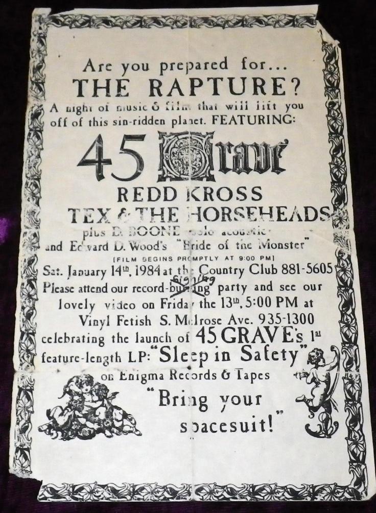 RARE 1984 45 GRAVE FLYER REDD KROSS TEX & THE HORSEHEADS SLEEP IN SAFETY LP GOTH | eBay