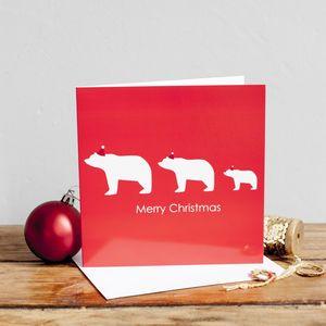 Three Bears In Santa Hats - cards & wrap