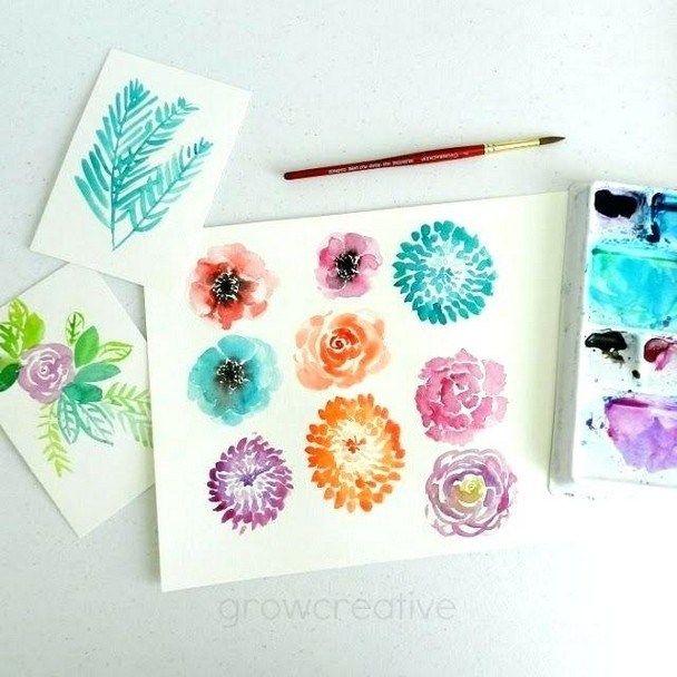 50 Simple Watercolor Painting Ideas Watercolor Art Diy Flower