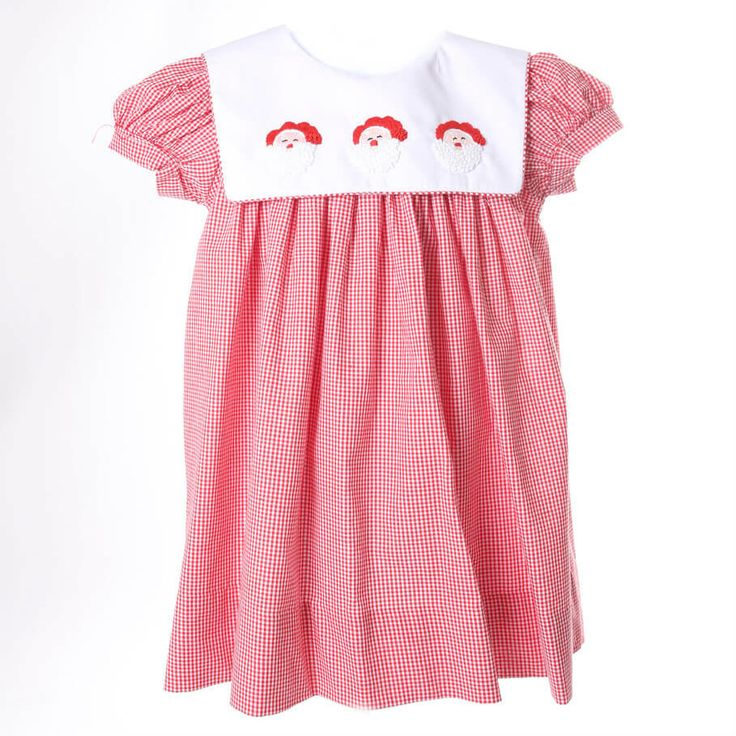 Red Gingham Embroidered Santa Dress by Cecil and Lou