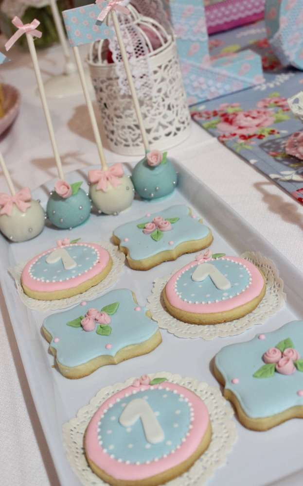 Beautiful decorated sugar cookies at a shabby chic baptism party! See more party planning ideas at CatchMyParty.com!