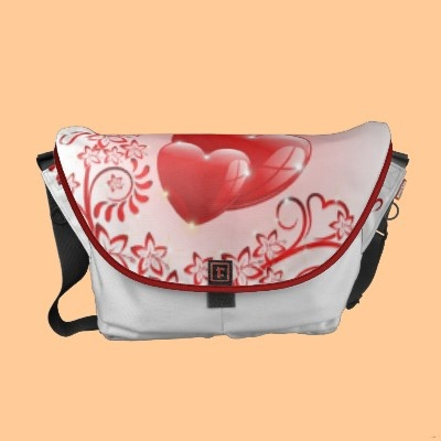 Love Ornamental Hearts Courier Bag by Bluedarkat