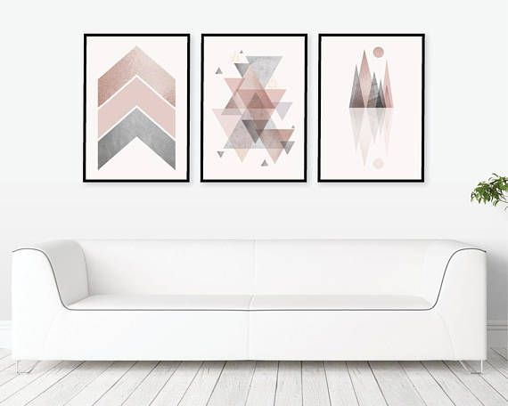 Trio Of Matching Printable Art In Blush Pink And Grey Downloadable