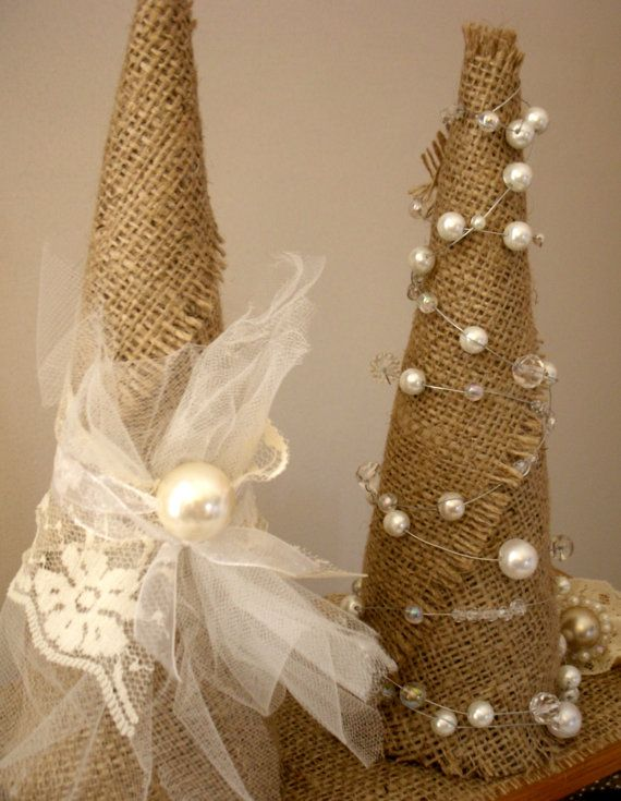 Burlap Shabby Chic Christmas Tree 9 inch by LaParisLaur on Etsy... These could be so cute with all the cute burlap at hobby lobby