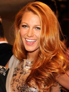 Gorgeous Blake Lively with light caramel red hair    Summer color idea!