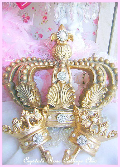 Vintage Gold Fleur De Lis Bed Crown Canopy Set Girls Room