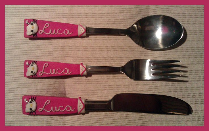 Handemade FIMO polymer clay cutlery for little girls - Hello Kitty with swarovski beads