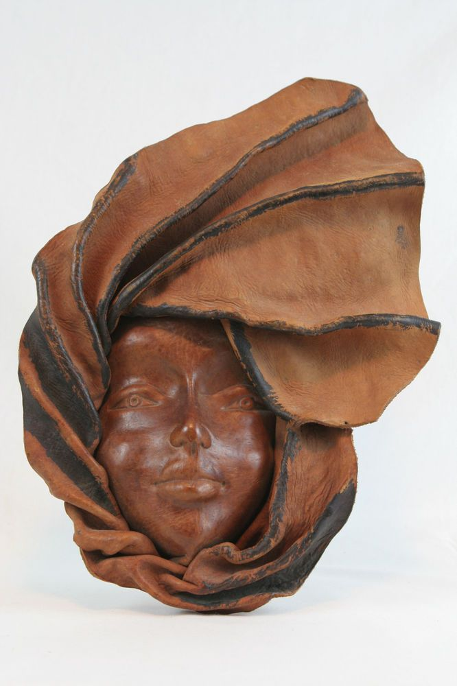 Handcrafted Leather African Haitian Mask Beautiful Woman