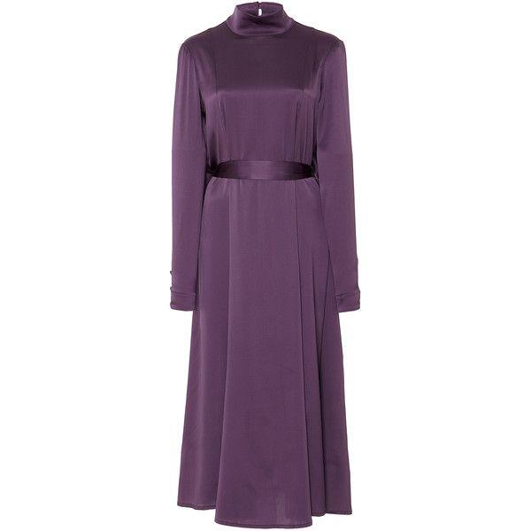 Marei 1998 Forsythia Satin Dress (83.640 RUB) ❤ liked on Polyvore featuring dresses, purple, long sleeve cocktail dresses, long sleeve purple dress, calf length dresses, long-sleeve midi dresses and satin midi dress