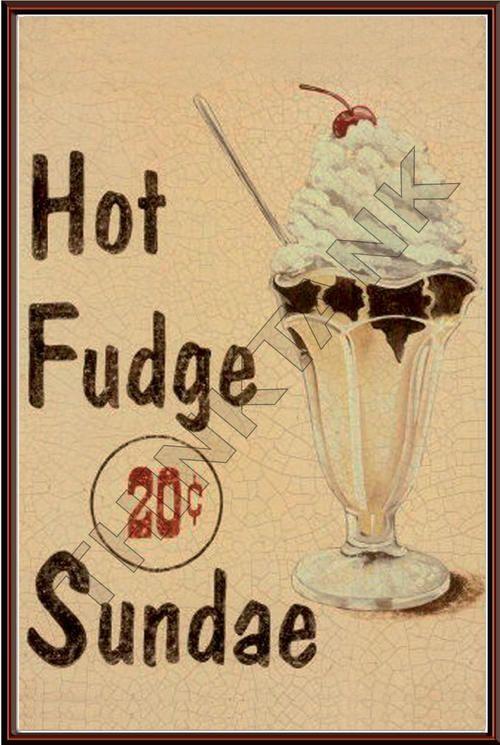 Retro Food Signs | Signage - Vintage Fast Food Advertising Metal Sign - Hot Fudge Sundae ...