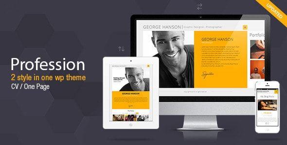 Wordpress resume portfolio themes 21 profession v294 one page cv resume theme yelopaper Gallery