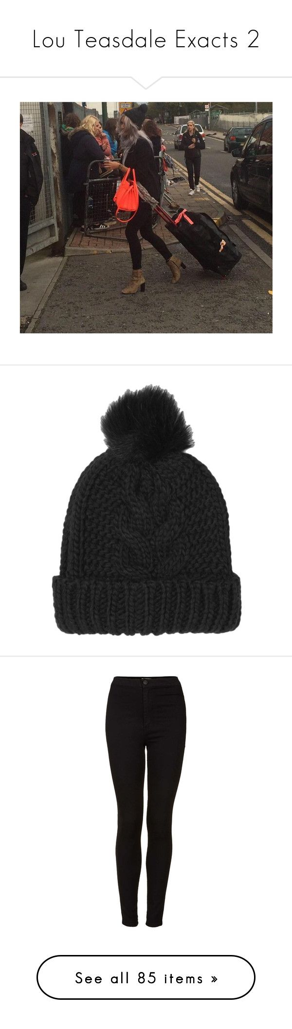 """""""Lou Teasdale Exacts 2"""" by julie-louise-oliver ❤ liked on Polyvore featuring accessories, hats, beanie, hair accessories, black, pom pom beanie, cable knit beanie, pom pom hat, faux fur beanie and cable knit hat"""
