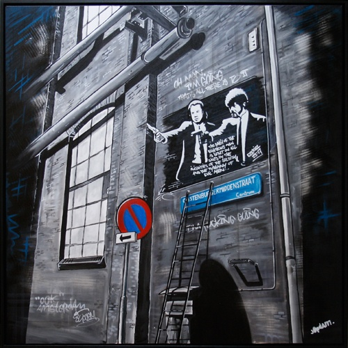 Title: Also Amsterdam - 100 x 100 cm - Acrylic and spray paint on canvas
