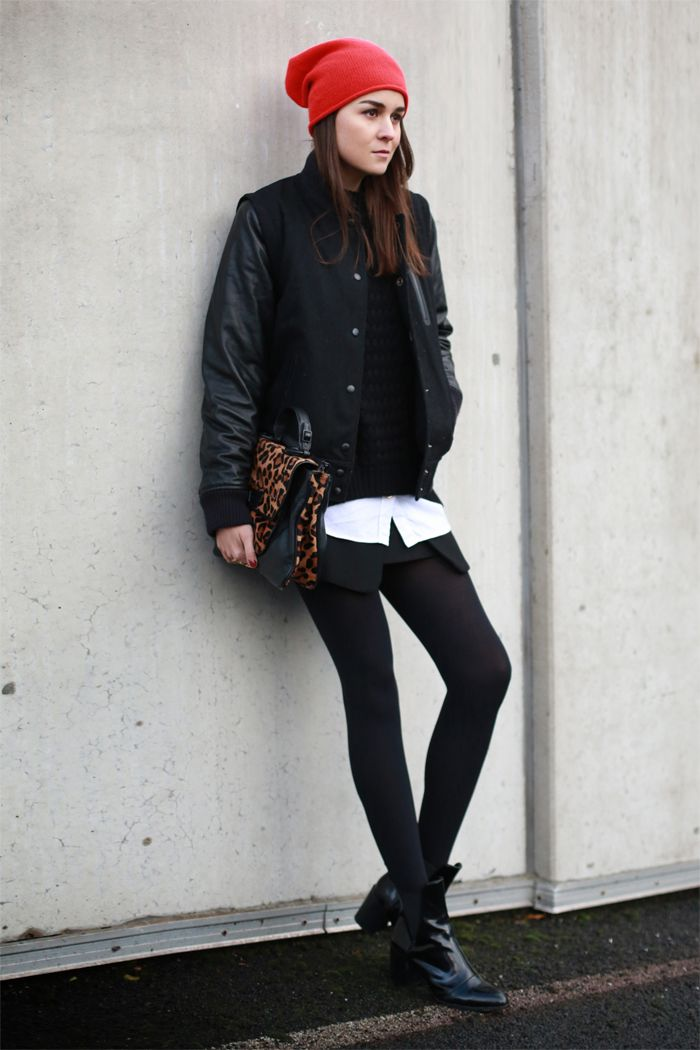 Jacket: NIKE  |  Sweater & Beanie: COS  |  Boots & Skirt: ZARA  |  Bag: Rebecca Minkoff