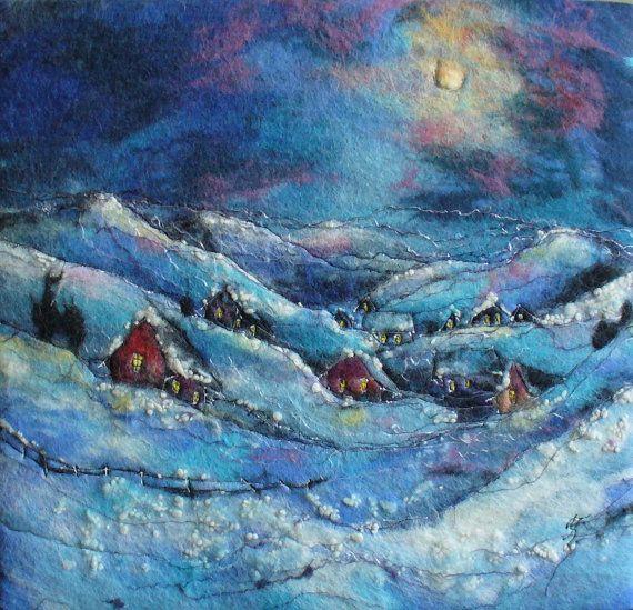 Felt+Picture.Fabulous+Winter+Landscape.+by+HappyColorfulFelting