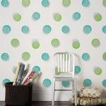 Happy Home Decor Polka Dots Walls With Green And Blue Decorations , Chair, Pilows