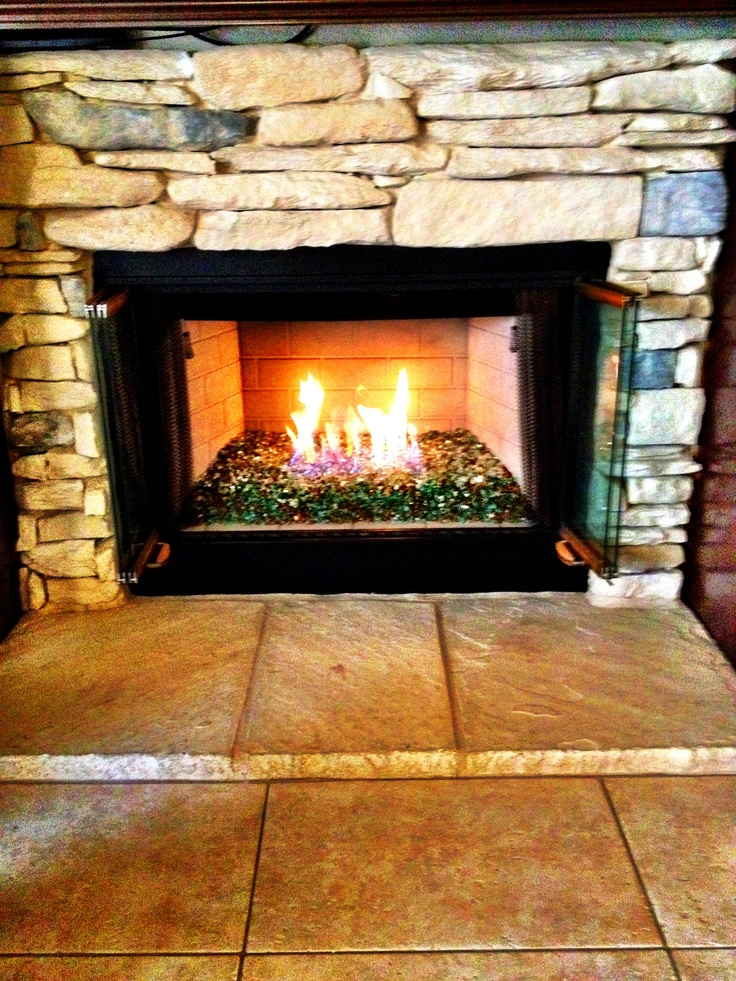 My Actual Fireplace Non Formal Living Room Indoor Gas Fireplace Crystal Fire Glass Green