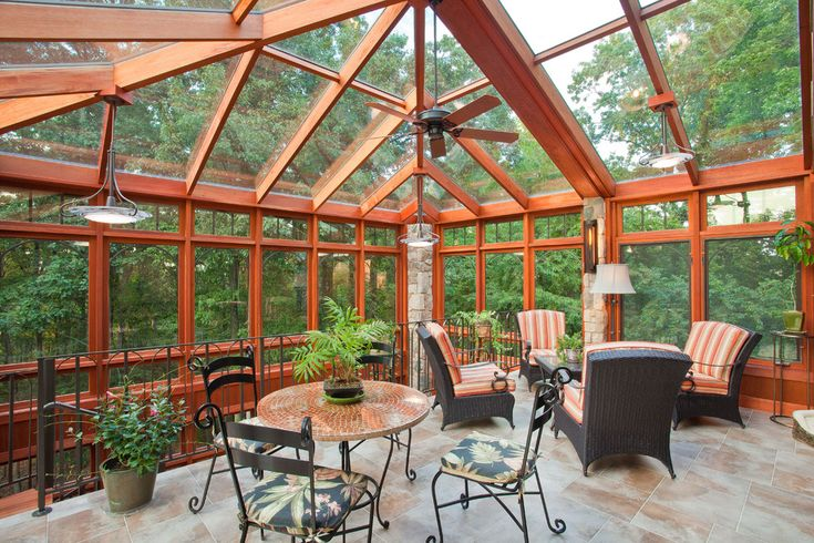Splashy Patio Enclosures vogue Other Metro Traditional Sunroom Innovative Designs with atrium cafe furniture ceiling fan conservatory metal railing orange pendant lights Porch red striped