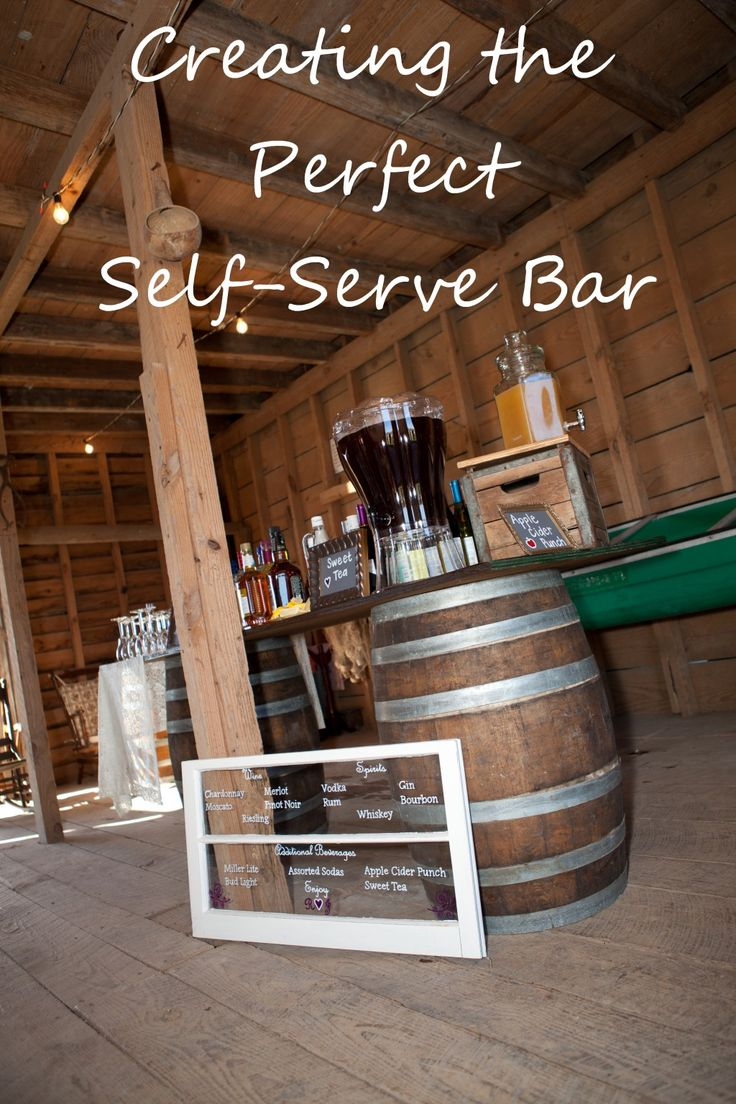 Creating a DIY Self-Serve Bar at Your Wedding or Special Event - love the menu on the window!