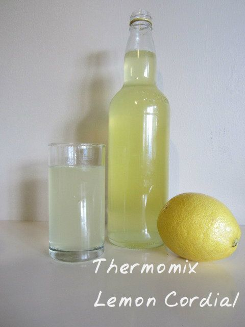Thermomix Lemon Cordial 4 lemons (peel & juice), 420gms boiling water, 400gms raw sugar, 15gms tartaric acid. Add all ingredients, mix speed 2 on reverse for 10 minutes90 degrees. Strain.