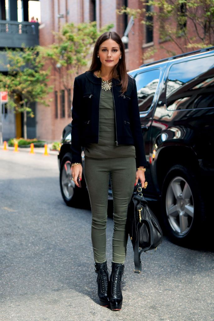Olivia Palermo looking chic... love her statement necklace + the green on green.