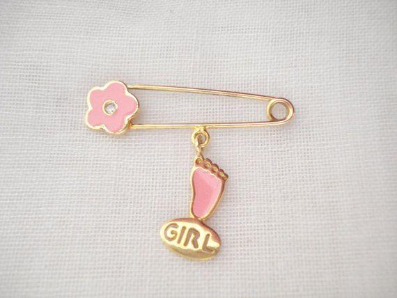 Baby girl footprint pin Baby safety pin Flower pin by Poppyg