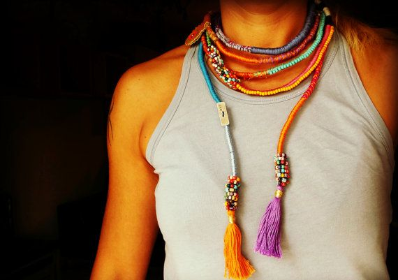 Statement Necklace thread wrapped. beaded rope by BeadStonenSkin