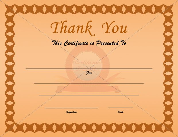 Thank You Certificates   Certificate Templates  Certificates Templates