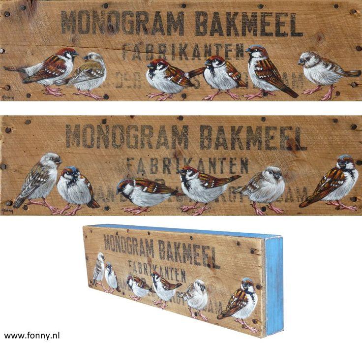 Mussen Monogram Bakmeel / Sparrows Monogram bakingflour - 1 & 2 - à 45 x 13 x 4 cm | vogel | oud hout | schilderij | dieren | bird | old wood | painting | animals |