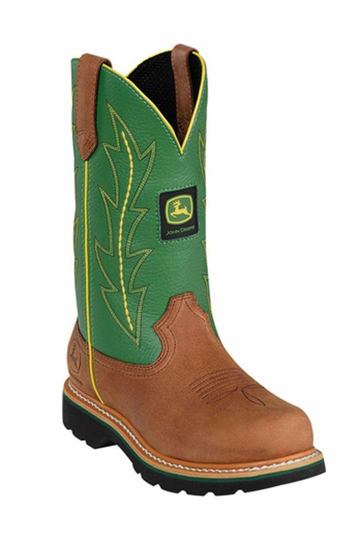 Women's John Deere Green Wellington Western Cowgirl Work Boots