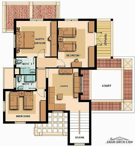 خرائط الفيلا 260 متر مربع افق جاردن 187 Arab Arch Homes