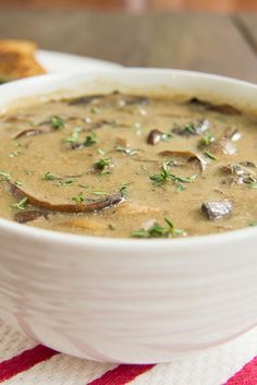 Best Ever Mushroom Soup! No lie, this is the best mushroom soup I've ever had! Vegan, gluten free, dairy free!