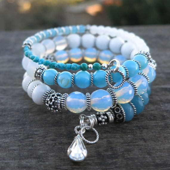 Moonstone+Sterling+Silver+memory+wire+bracelet+by+BlooMoonJewelry