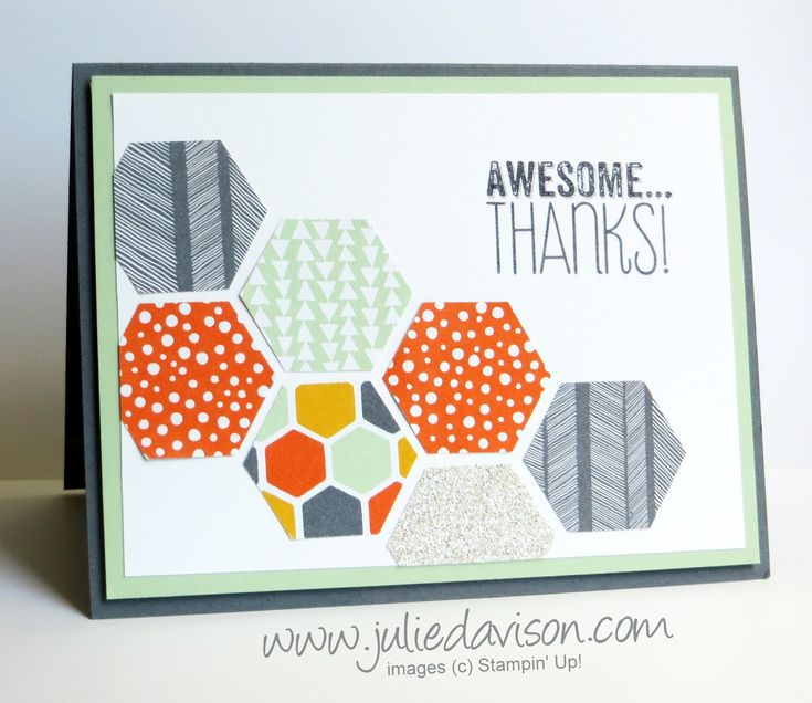 Clean and Simple card with Stampin' Up! Confetti Celebration Designer Paper & Hexagon Punch #stampinup www.juliedavison.com