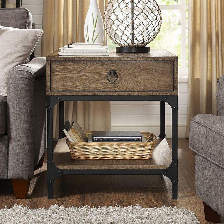 Crosley Furniture Trenton Rustic Coffee Wood End Table