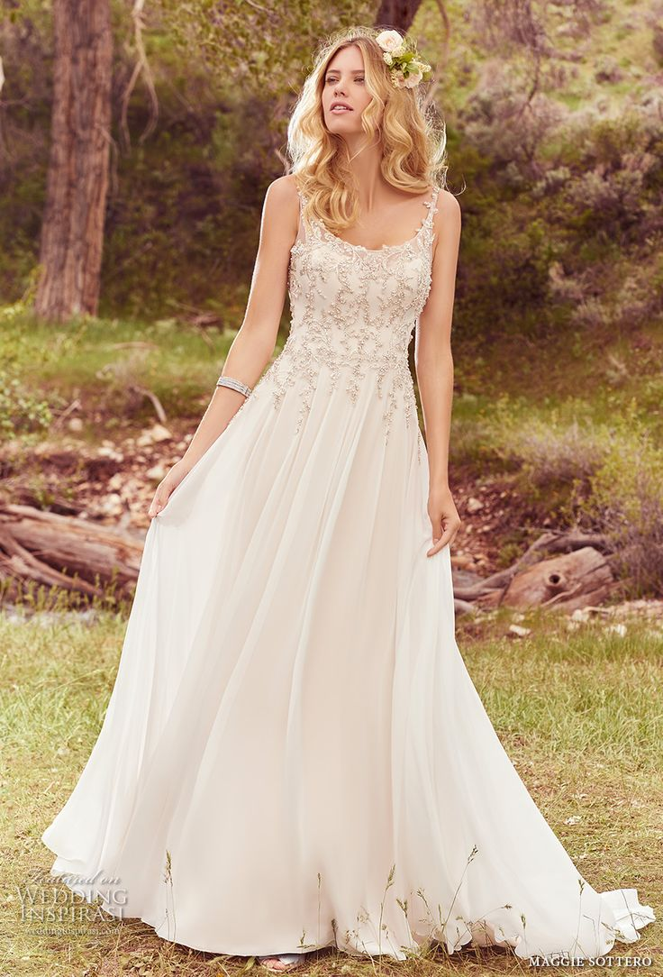 maggie sottero spring 2017 bridal sleeveless thing strap scoop neckline heavily embellished bodice romantic a line wedding dress chapel train (caprice) mv -- Maggie Sottero Spring 2017 Wedding Dresses