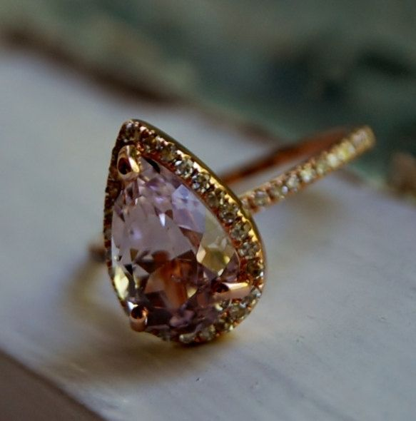 3ct Color change sapphire Lavender champagne tear drop sapphire and rose gold diamond engagement ring
