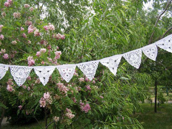 Bunting garland, bruiloft decoratie, partij decor, muur opknoping Garland, driehoek haak Bunting