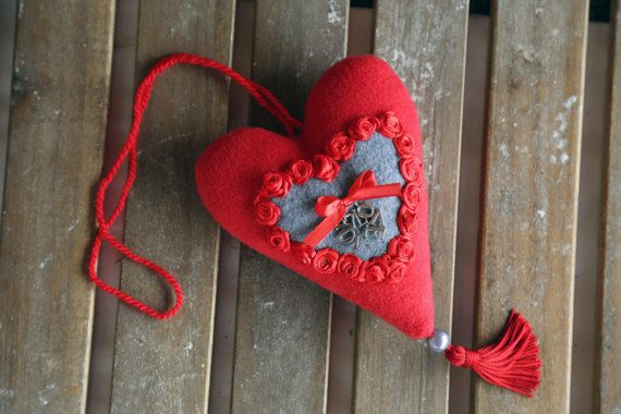 Red fabric heart Love. Valentines day heart. Home by donidinadya