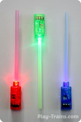 DIY Mini Lightsabers @ Play Trains! http://play-trains.com/diy-mini-lightsabers-kids-craft/  A quick and easy kids' craft, these lightsabers are perfect for Star Wars birthday parties, stuffed animal movie reenactments, or simply waving around and making VWOOOM, VWOOOM sounds.