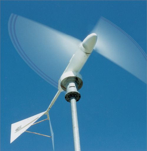 A domestic wind turbine in motion.