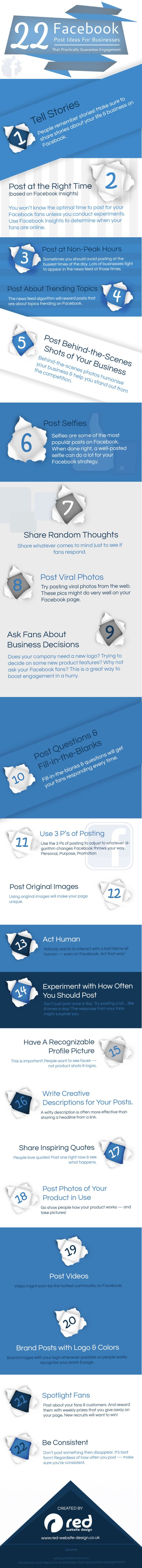 22 Facebook post ideas for businesses #infographic #socialmedia