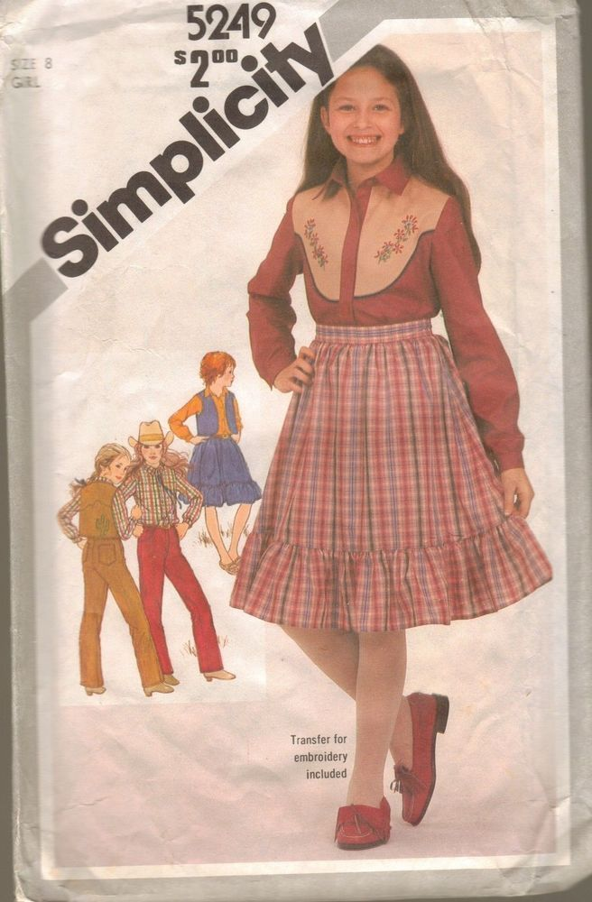 Simplicity Sewing Pattern 5249 Cowgirl Western Costume Outfit Ruffle Skirt S-8 #Simplicity