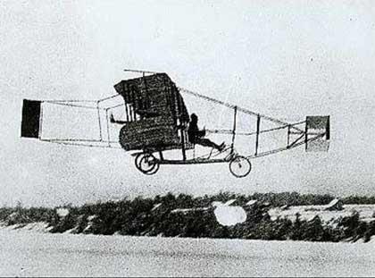 "Aerial Experiment Association Silver Dart (1909) by John McCurdy, Frederick W. ""Casey"" Baldwin, Glenn Curtiss, Thomas Selfridge, and Alexander Graham Bell."