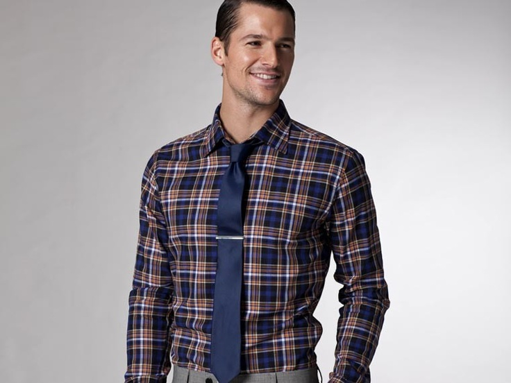 Work in style with the Freelancer Blue and Orange Plaid Shirt from Indochino
