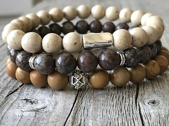Gemstone men bracelet set brown bohemain bracelets bracelet