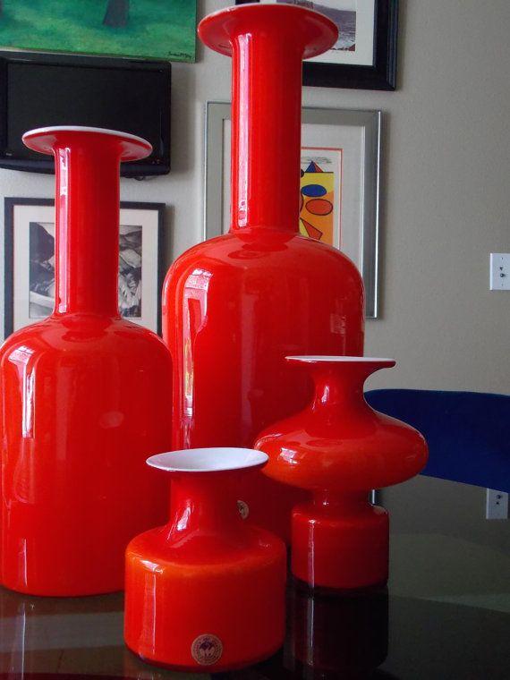 Holmegaard Carnaby Vase Red Orange Danish Modern by MidCenturyFLA