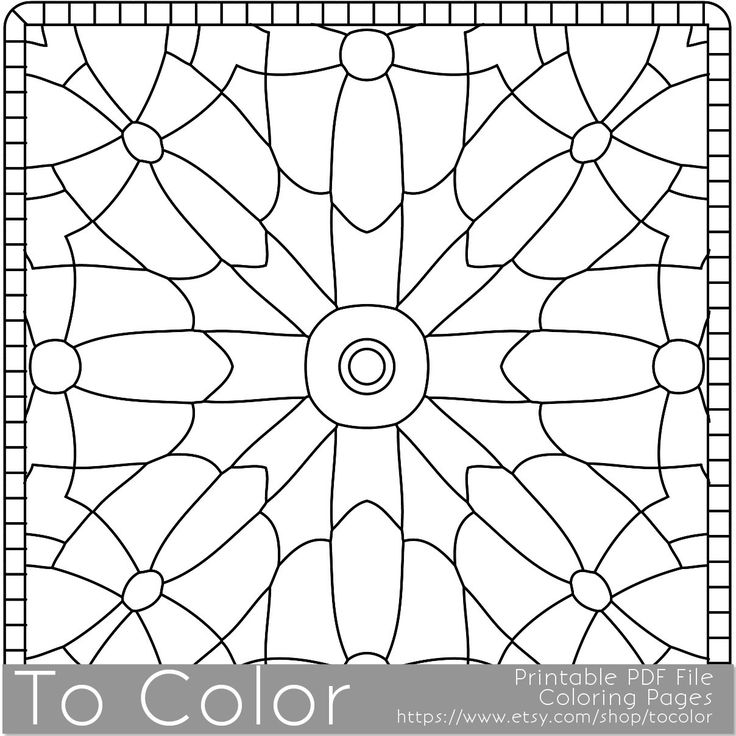 Square Mandala Pattern Coloring Page for Grown Ups ...
